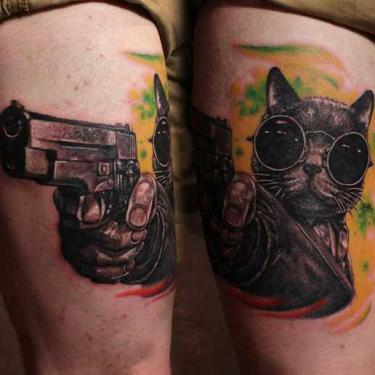 Ganster Cat Tattoo