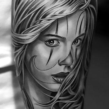 Black and Gray Girl Tattoo