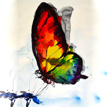 Unique Watercolor Butterfly Tattoo