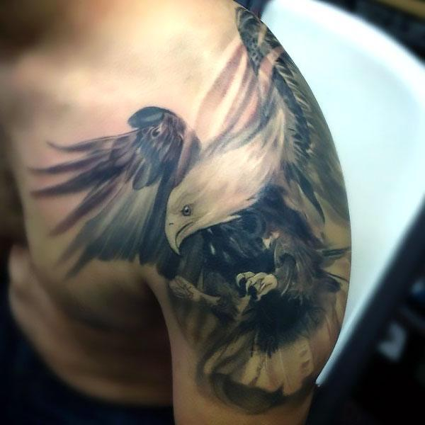 Black and Gray Hawk Tattoo Idea