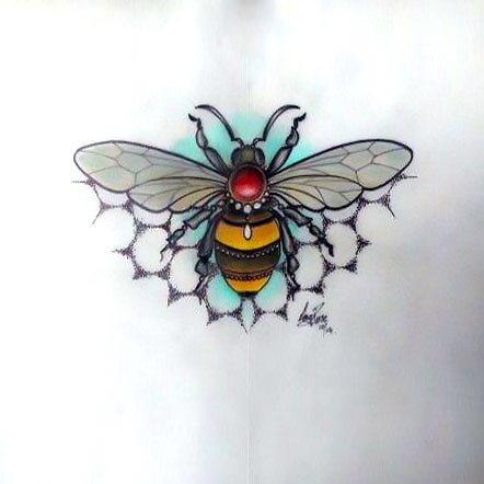 Precious Bee Tattoo Design