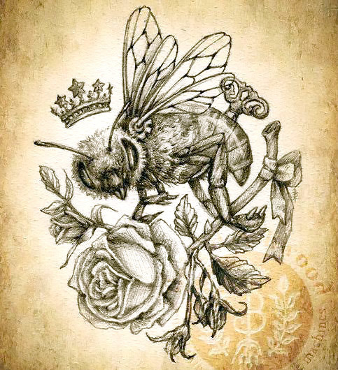 Queen Bee and Rose Tattoo Design