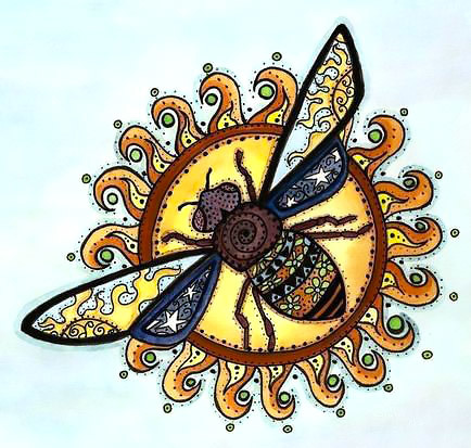 Sun and Bee Tattoo Design