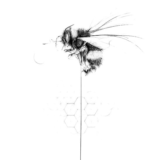 Tender Bumble Bee Tattoo Design