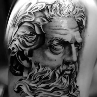Black and Gray Head Tattoo