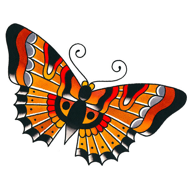 Cute Traditional Butterfly Tattoo Design