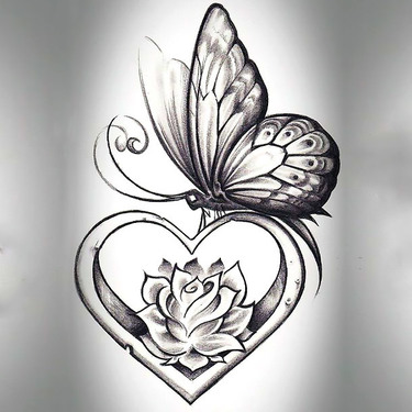 Butterfly With Heart Tattoo