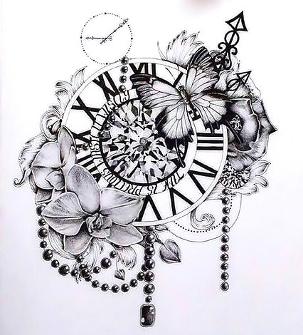 Clock Flowers Butterfly Tattoo Design