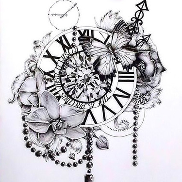 Clock Flowers Butterfly Tattoo