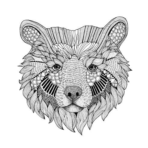 Cool Bear Head Tattoo Design