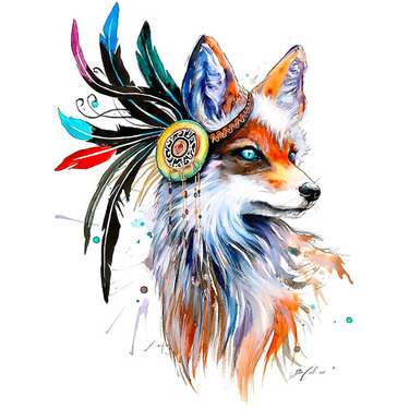 Cool Beautiful Girly Fox Tattoo
