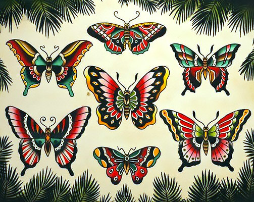 Cool Traditional Butterflies Tattoo Design