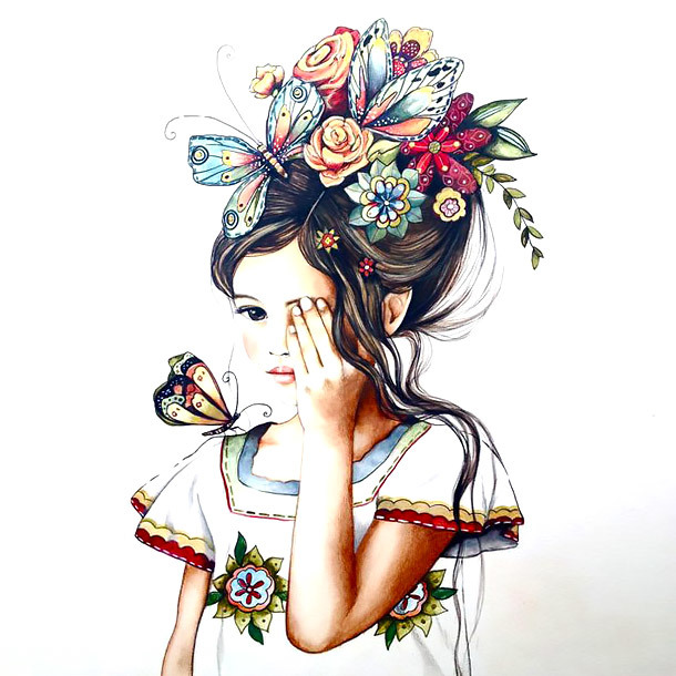 Girl With Flowers and Butterflies In Hair Tattoo Design