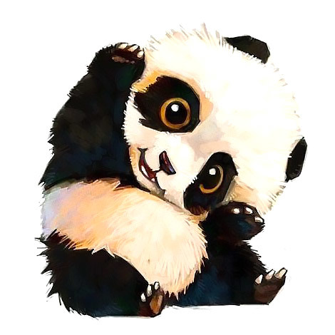 Cute Little Panda Bear Tattoo Design