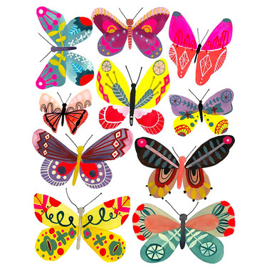 Cute Psychedelic Butterflies Tattoo