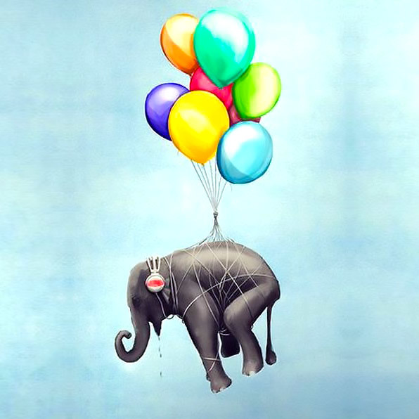Flying Elephant With Balloons Tattoo Design