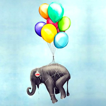 Flying Elephant With Balloons Tattoo