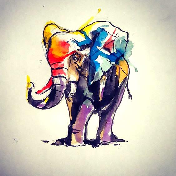 Full Watercolor Elephant Tattoo Design