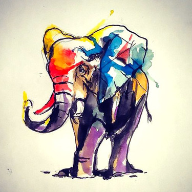 Full Watercolor Elephant Tattoo