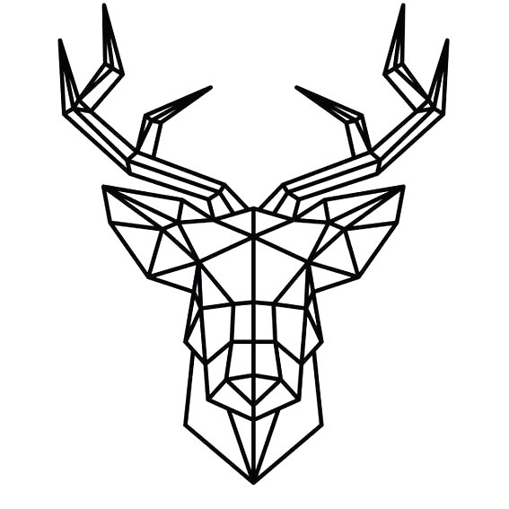 Geometric Deer Head Tattoo Design