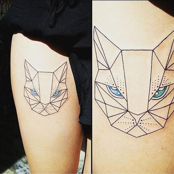 Beautiful Geometric Cat Tattoo Idea