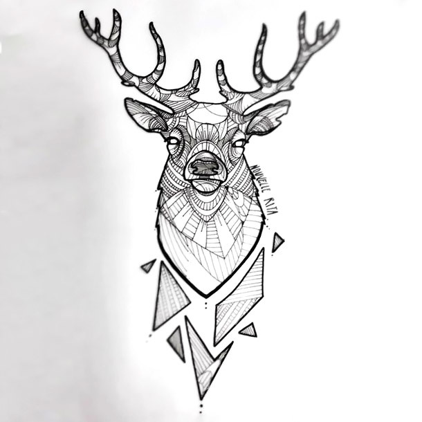 Graphic Deer Head Tattoo Design