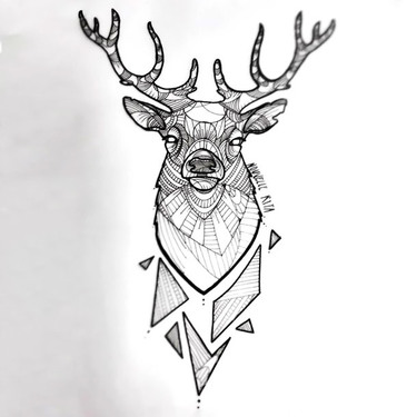 Graphic Deer Head Tattoo