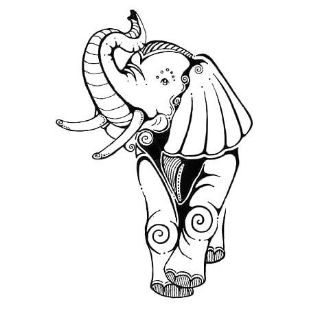 Happy Simple Elephant Tattoo Design