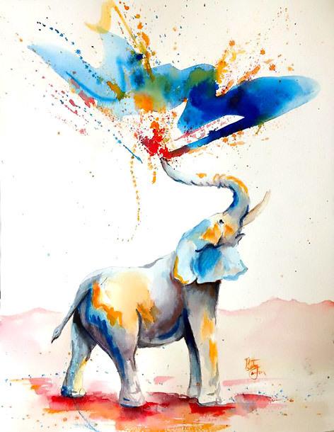 Happy Watercolor Elephant Tattoo Design