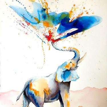 Happy Watercolor Elephant Tattoo