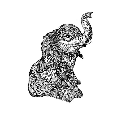 Hindu Baby Elephant Tattoo Design