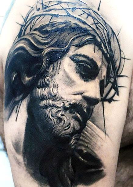 Black and Gray Jesus Tattoo Idea