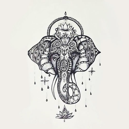 Hindu Elephant Tattoo Design