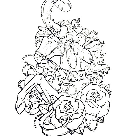 Horse and Roses Tattoo Design