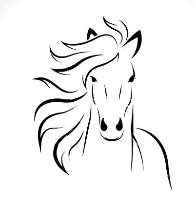 Horse Head Outline Tattoo Design