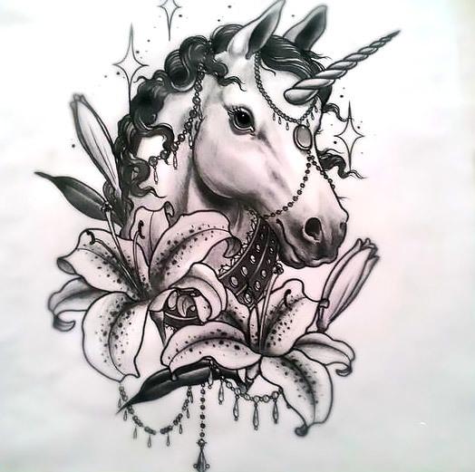 Unicorn with Lilies Tattoo Design