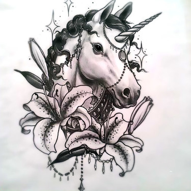 Unicorn with Lilies Tattoo