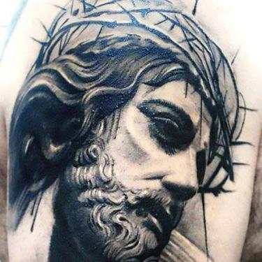 Black and Gray Jesus Tattoo