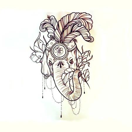Indian Elephant Head Tattoo Design
