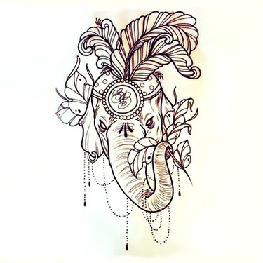 Indian Elephant Head Tattoo