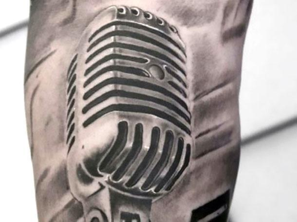 Black and Gray Microphone Tattoo Idea