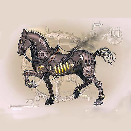 Steampunk Iron Horse Tattoo Design