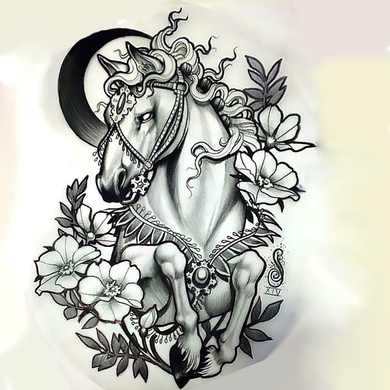 Moon Horse and Flowers Tattoo Design