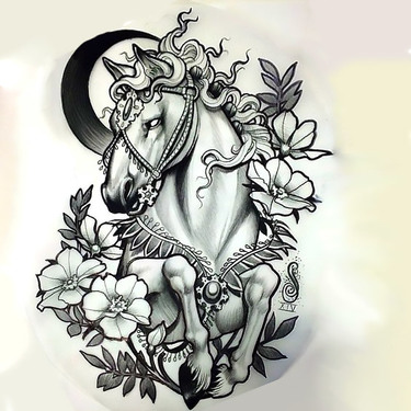 Moon Horse and Flowers Tattoo