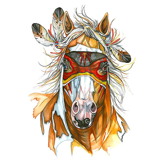 Native American Horse Head Tattoo Design