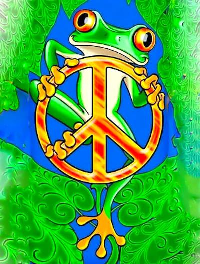Peace Cartoon Frog Tattoo Design
