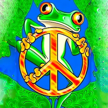 Peace Cartoon Frog Tattoo