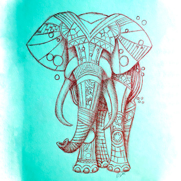 Steampunk Elephant Tattoo Design