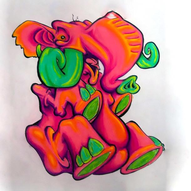 Red Crazy Elephant Tattoo Design