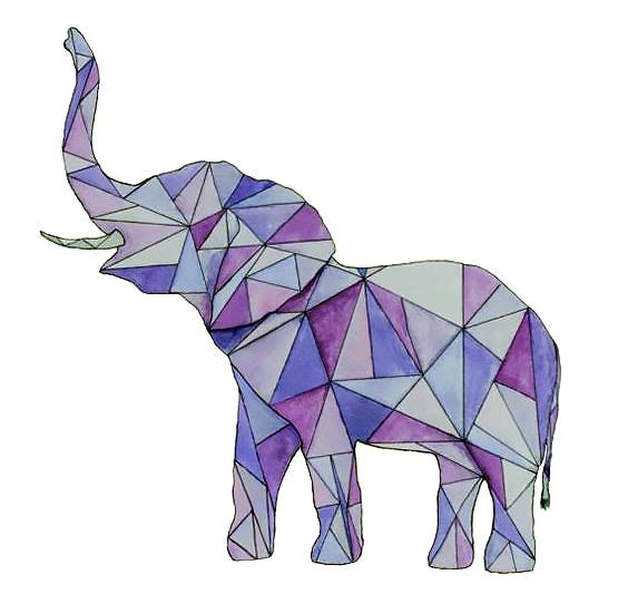 Purple Geometric Elephant Tattoo Design